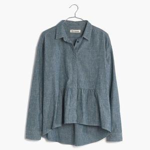 Madewell Rivet And Thread Denim Ruffle Shirt (NWT)